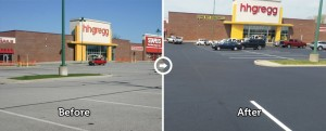before and after a parking lot is sealed